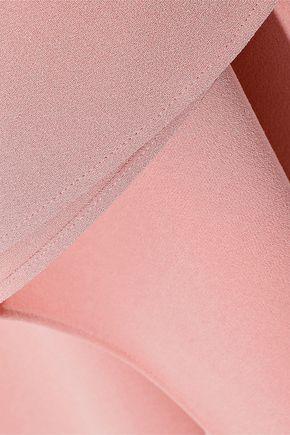 TIBI Fringe-trimmed draped crepe midi skirt