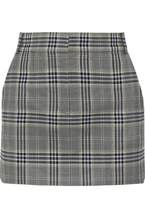 TIBI Lucas checked twill mini skirt