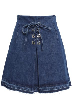 SANDRO Lace-up denim mini skirt