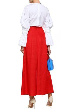 DELPOZO Ruffled woven maxi skirt