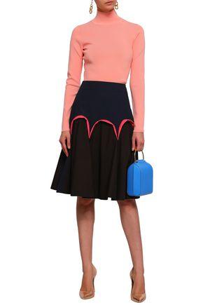 DELPOZO Two-tone cotton-poplin skirt