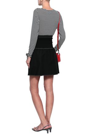MAJE Flared stretch-cotton mini skirt