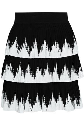 MAJE Two-tone knitted mini skirt