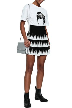0102890de12 MAJE Two-tone knitted mini skirt