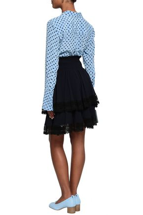 MAJE Macramé-trimmed tiered crepe skirt