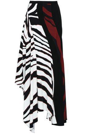 ROBERTO CAVALLI Asymmetric printed crepe skirt