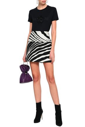 428af31a00bec ROBERTO CAVALLI Zebra-print cotton and silk-blend mini skirt