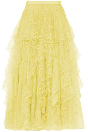 RODARTE Embroidered lace midi skirt