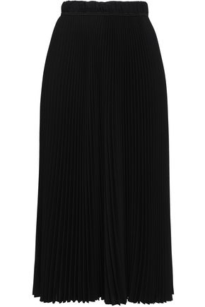 MARC JACOBS Grosgrain-trimmed pleated crepe midi skirt