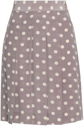 MARC JACOBS Pleated polka-dot silk crepe de chine mini skirt
