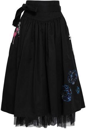 MARC JACOBS Tulle-trimmed appliquéd denim midi skirt