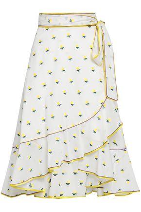 MARC JACOBS Ruffled satin-trimmed fil coupé cotton wrap skirt