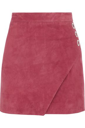 MICHELLE MASON Wrap-effect eyelet-embellished  suede mini skirt