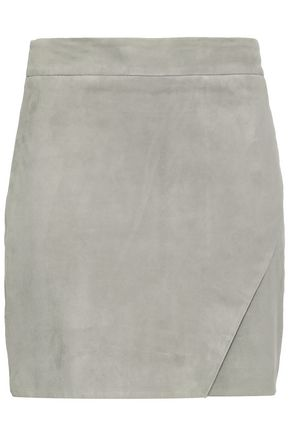 MICHELLE MASON Wrap-effect suede mini skirt