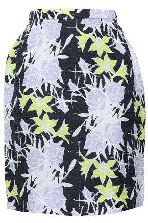 NINA RICCI Floral-print silk-blend cloqué mini skirt