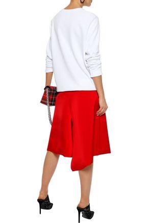 TIBI Asymmetric satin-crepe skirt