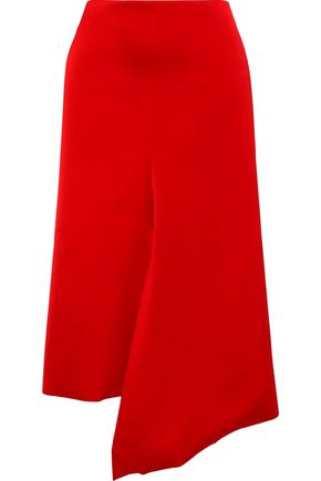 TIBI Asymmetric draped satin-crepe skirt