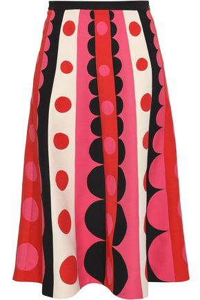 VALENTINO Printed wool and silk-blend midi skirt