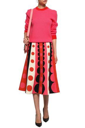VALENTINO Printed wool and silk-blend midi skirt