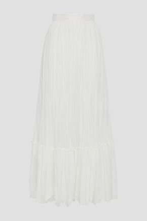 VALENTINO Pleated cotton-gauze maxi skirt