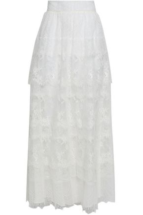 VALENTINO Tiered lace maxi skirt