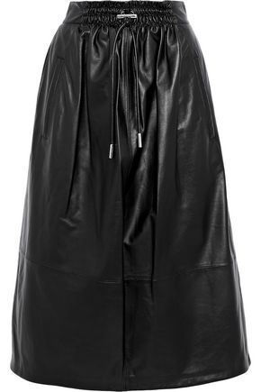 TIBI Gathered leather midi skirt