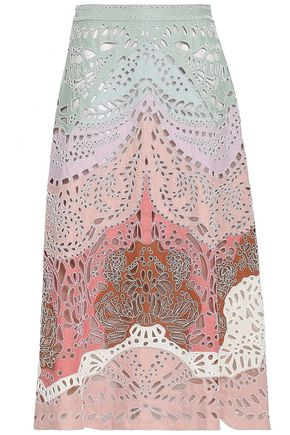 VALENTINO Bead-embellished broderie anglaise linen midi skirt