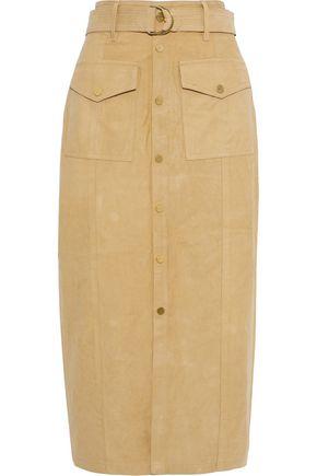 FRAME Belted suede midi skirt