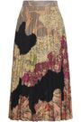 VALENTINO Pleated lace-paneled printed suede midi skirt
