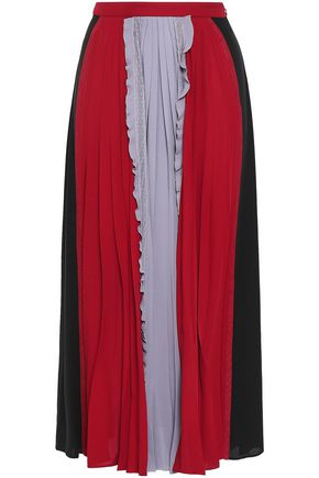 VALENTINO Pleated color-block silk crepe de chine maxi skirt