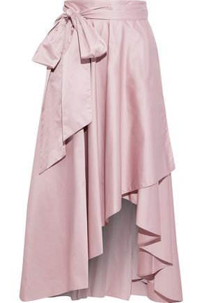MILLY Italian Duchess bow-detailed taffeta midi wrap skirt