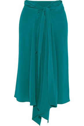 TOME Tie-front silk crepe de chine skirt