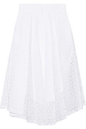 MILLY Fiona broderie anglaise cotton-poplin midi skirt