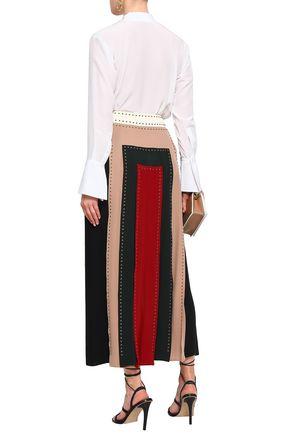 VALENTINO Studded color-block silk crepe de chine midi skirt