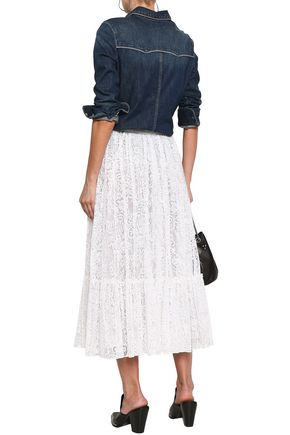 VALENTINO Cotton-blend corded lace midi skirt