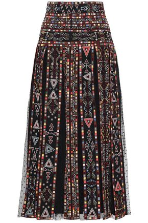 VALENTINO Embellished pleated point d'esprit-paneled woven midi skirt