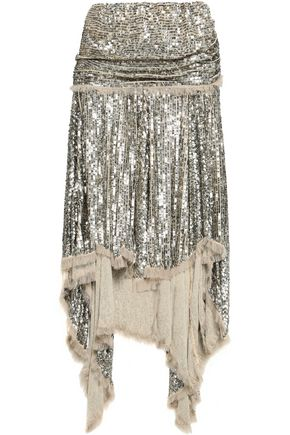 ZIMMERMANN Asymmetric sequined gauze skirt