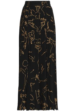 VALENTINO Pleated printed silk maxi skirt