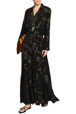 VALENTINO Pleated printed silk maxi skirt
