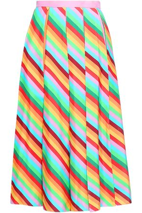VALENTINO Pleated striped silk midi skirt