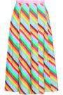 VALENTINO Pleated striped silk midi skirt
