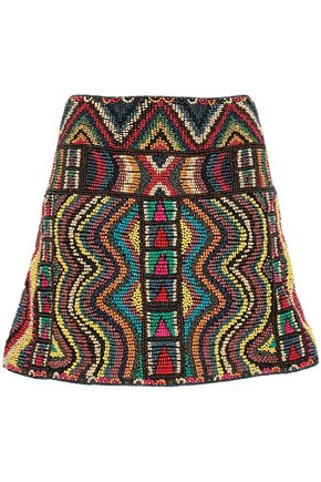 VALENTINO Beaded embroidered mesh mini skirt