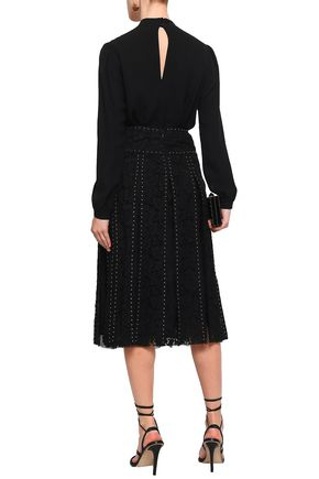 VALENTINO Studded lace midi skirt
