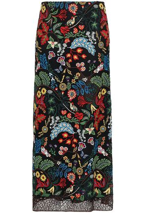 VALENTINO Embroidered cotton-blend macramé lace maxi skirt