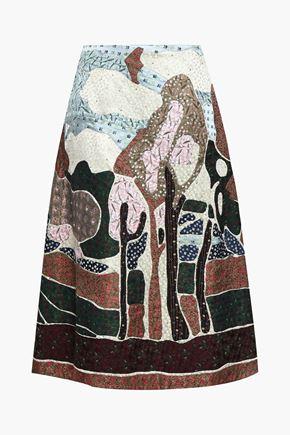VALENTINO 装飾付き シルクジャカード ミディスカート