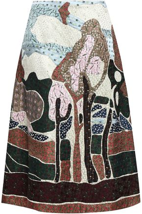 VALENTINO GARAVANI Embellished silk-jacquard midi skirt