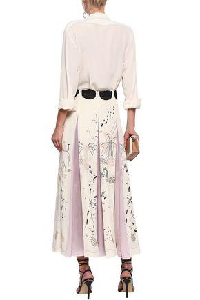 VALENTINO Pleated printed silk crepe de chine maxi skirt