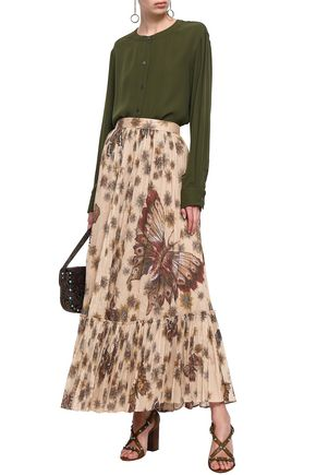 Valentino Gathered Printed Cotton-organza Maxi Skirt In Beige