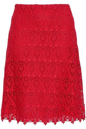 VALENTINO Cotton-blend guipure lace skirt