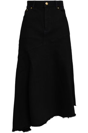 ZIMMERMANN Asymmetric frayed denim skirt